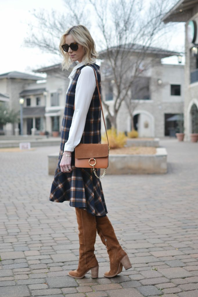 Chicwish plaid shift dress, white bow blouse, Dolce Vita over the knee boots