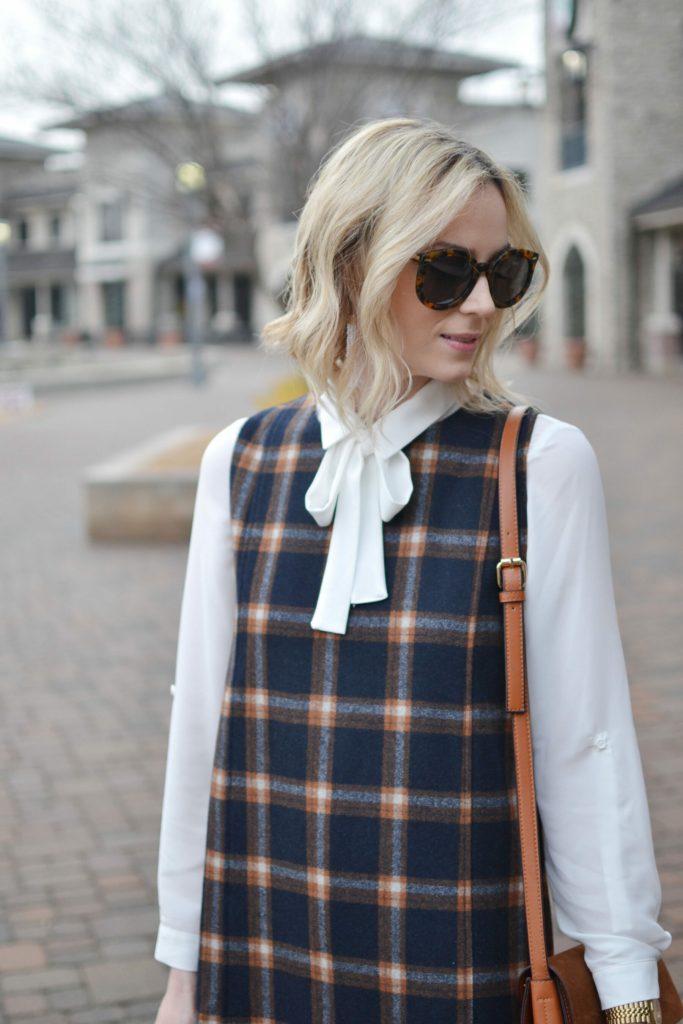 Chicwish plaid shift dress, white bow blouse