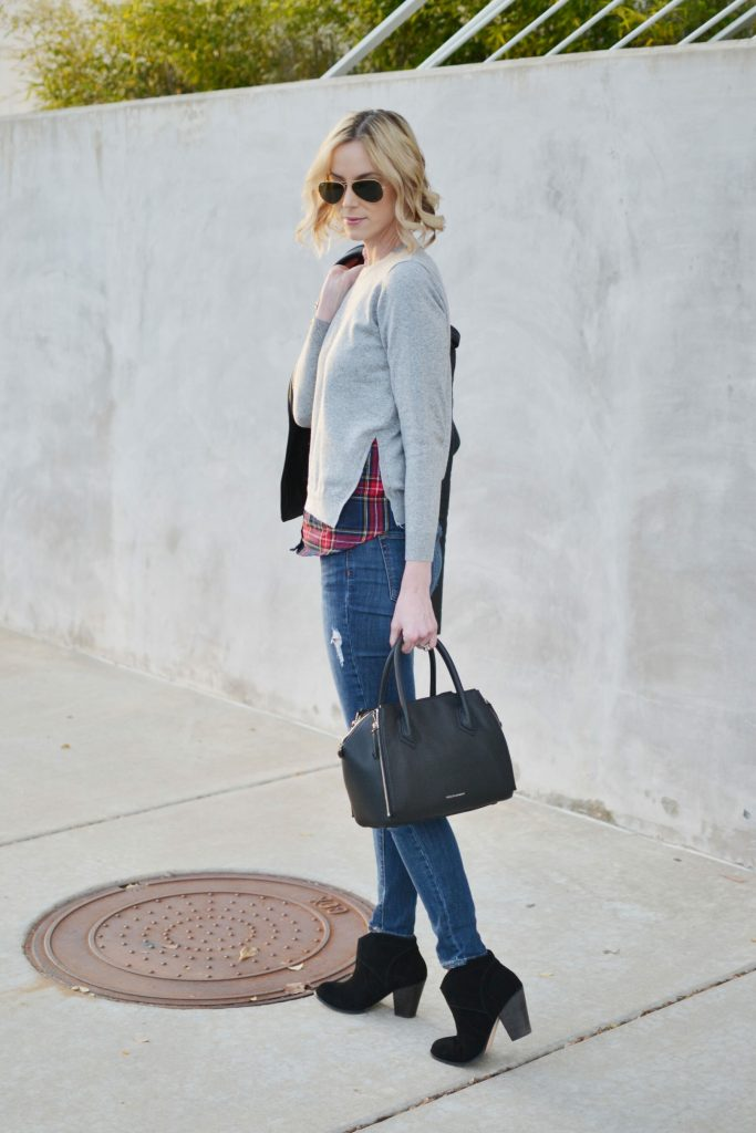 Goodnight Macaroon plaid layered sweater, distressed jeans, Sole Society Alba boots, leather jacket