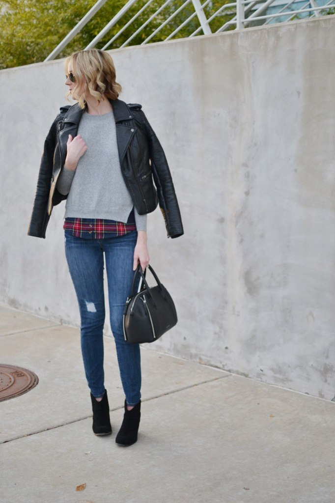 Goodnight-Macaroon-plaid-layered-sweater,-distressed-jeans,-Sole-Society-boots,-leather-jacket,-Rebecca-Minkoff-bag