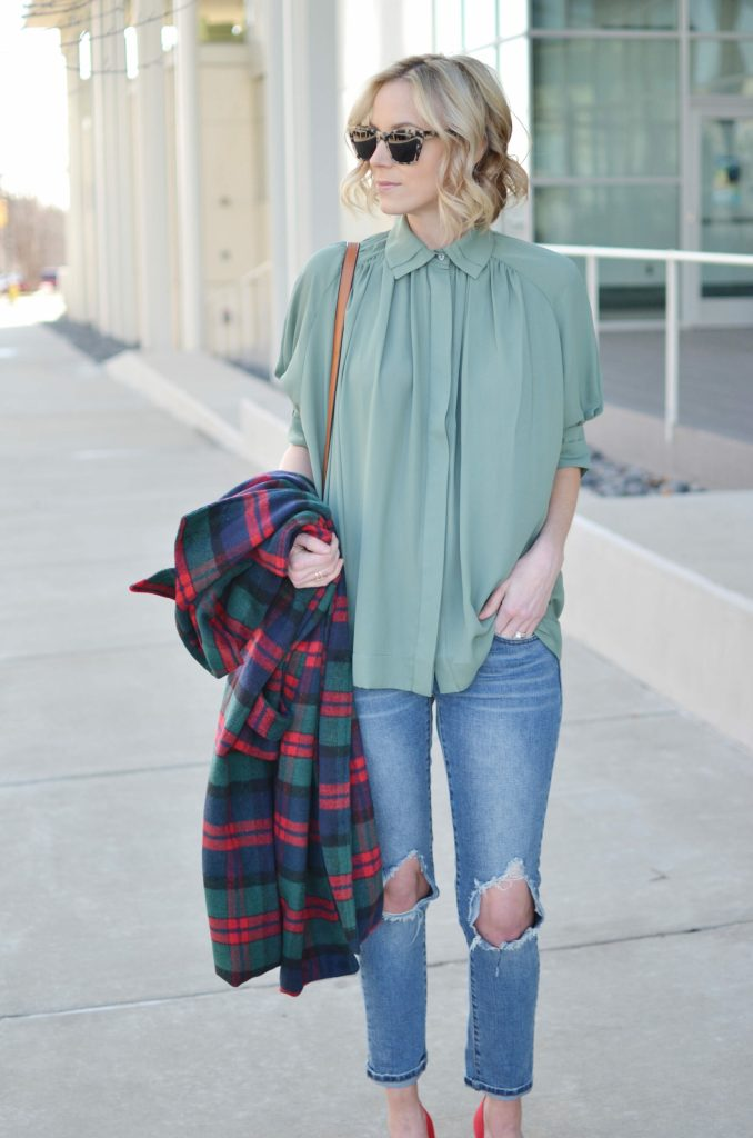 Isaac Mizrahi blouse and red heels, Oasap plaid coat, distressed jeans, chloe dupe bag