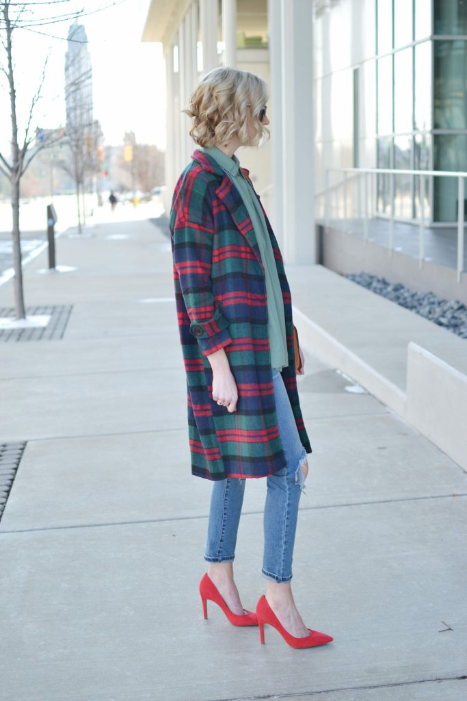 Isaac Mizrahi blouse, plaid coat, distressed jeans, red heels