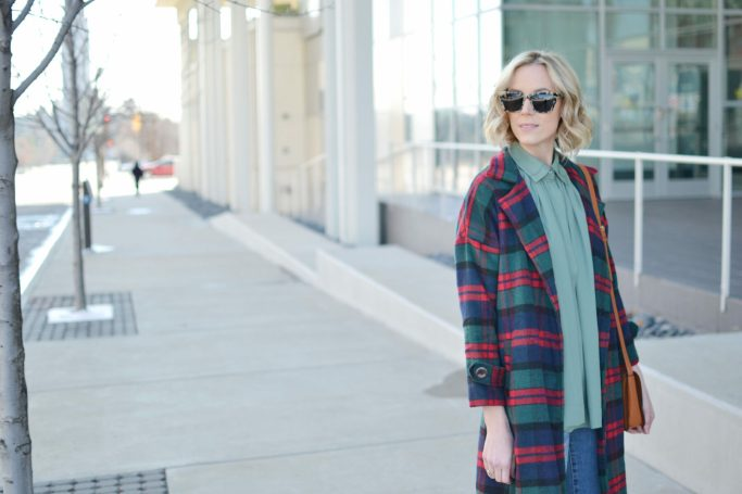 Isaac Mizrahi blouse, plaid coat, distressed jeans