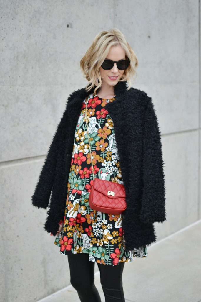 Oasap printed peplum dress and fuzzy coat, red bag, leather leggings