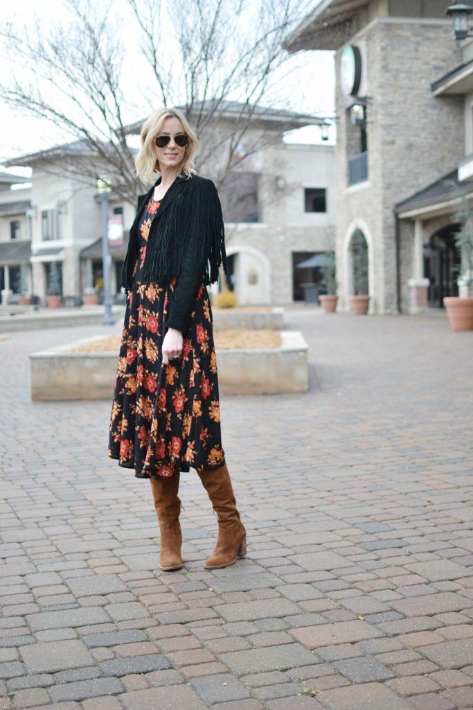 SheIn dark floral midi dress, Dolce Vita over the knee boots, black suede fringe jacket, chloe dupe bag
