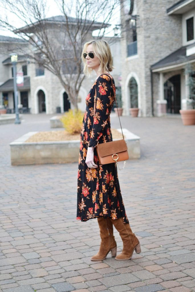 SheIn dark floral midi dress, Dolce Vita over the knee boots