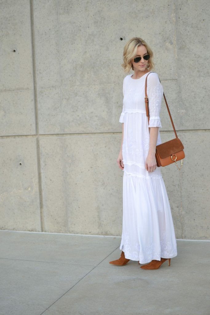 Oasap white boho maxi dress, chloe dupe bag, fringe boots