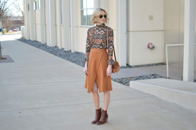 bell sleeve top, slit skirt, brown wedge boots