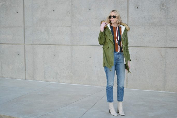 chicwish striped top, mom jeans, army green parka, topshop cream boots, ray-ban aviators