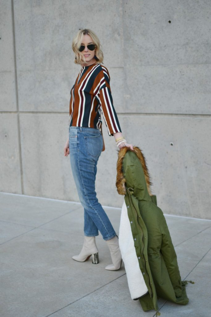 chicwish striped top, mom jeans, army green parka, topshop cream boots