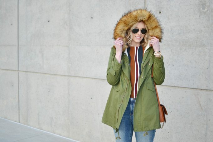 chicwish striped top, mom jeans, army green parka