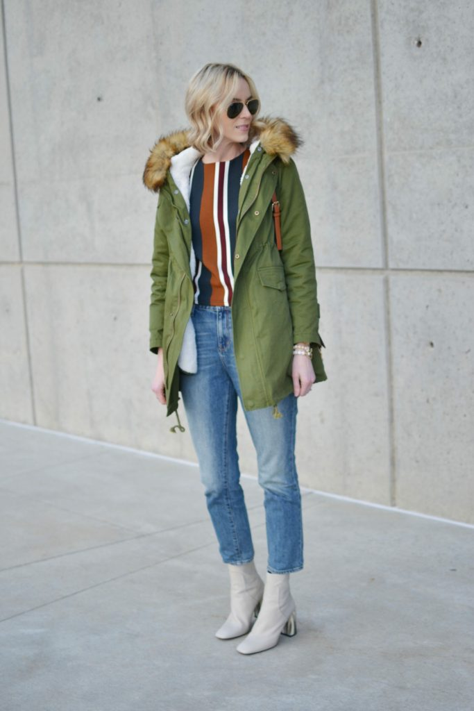 chicwish striped top, mom jeans, chicwish army green parka