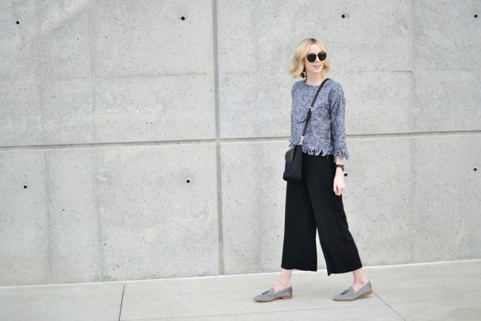 fringe top, culottes, black crossbody, grey loafers