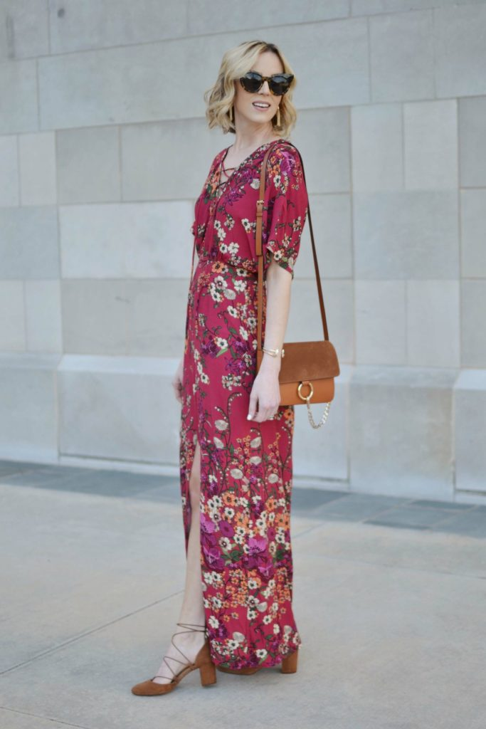 WAYF lace up floral maxi dress, lace up suede shoes, chloe dupe bag, karen walker sunglasses