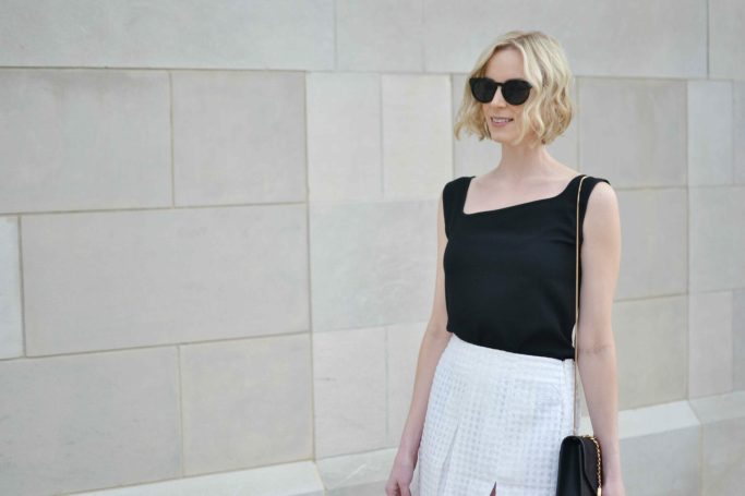classic pieces with BYOND, blush pom pom heels, black top, white overlay grid skirt, asymmetrical