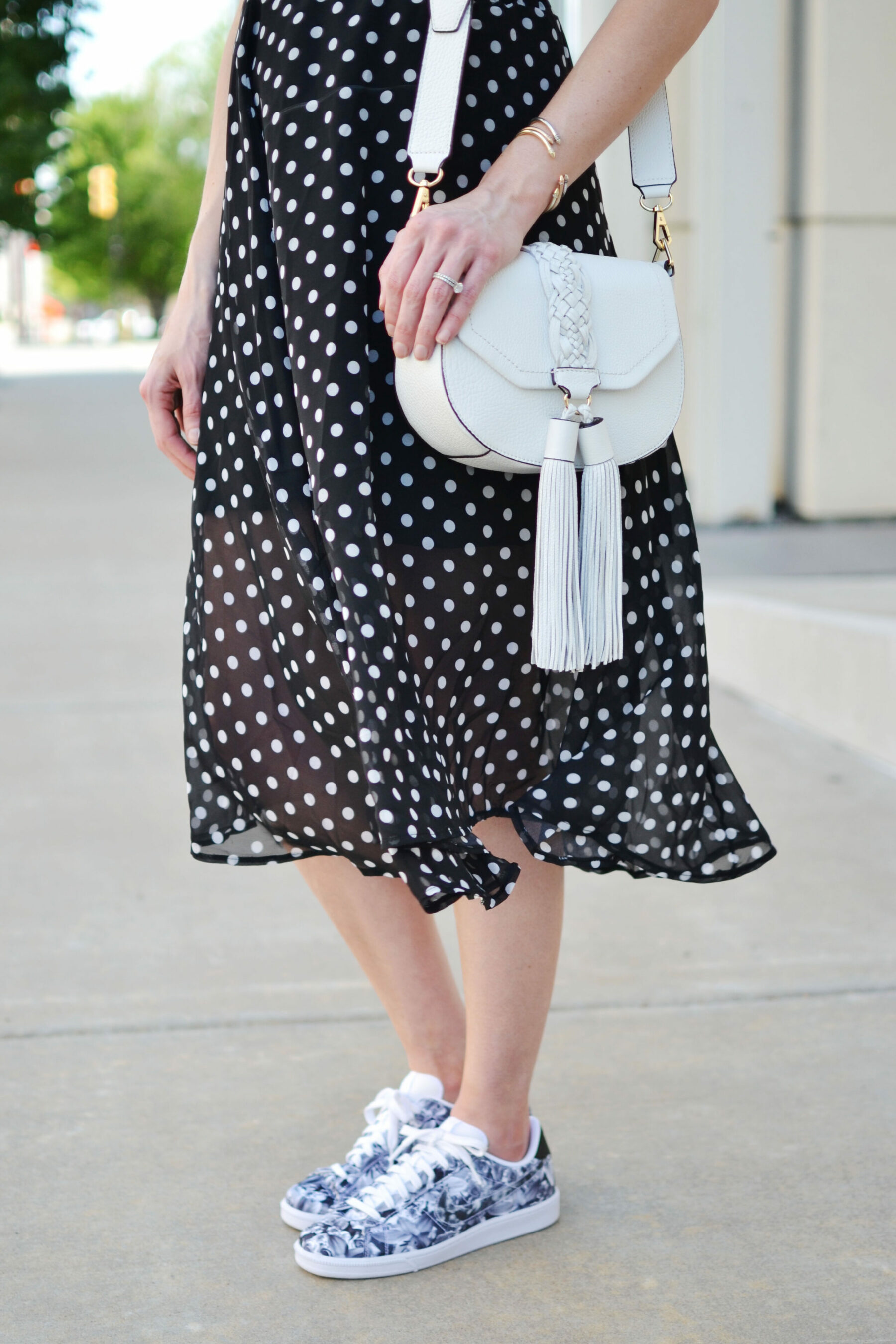 Blue And White Polka Dot Flat Shoes