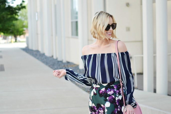 A classic mix of floral and stripes changed up a little by adding a trendy off the shoulder top and pink accents