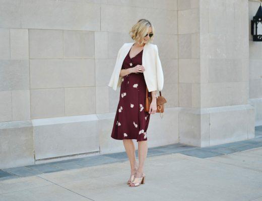 Ann Taylor wrap dress, white blazer