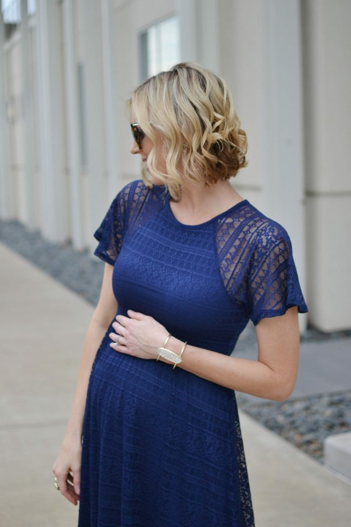 Asos navy lace maternity formal dress, rose gold mules, stylish maternity outfit