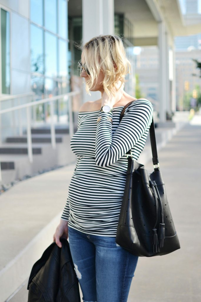 Isabella Oliver striped OTS maternity top, jeans, bucket bag 1