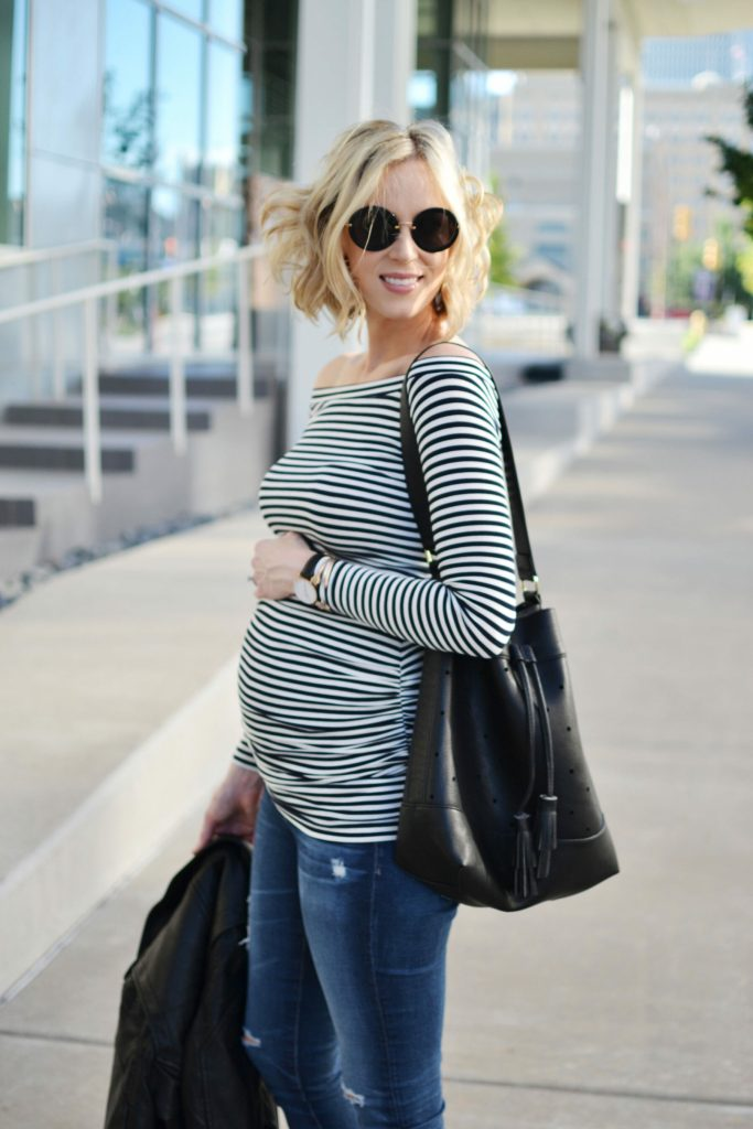 Isabella Oliver striped OTS maternity top, jeans, bucket bag