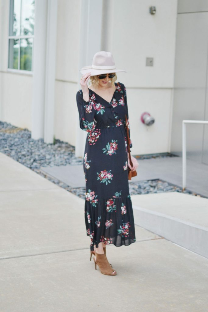 LOFT floral boho midi dress with hat, peep toe booties, and suede Rebecca Minkoff bag, maternity style, fall outfit