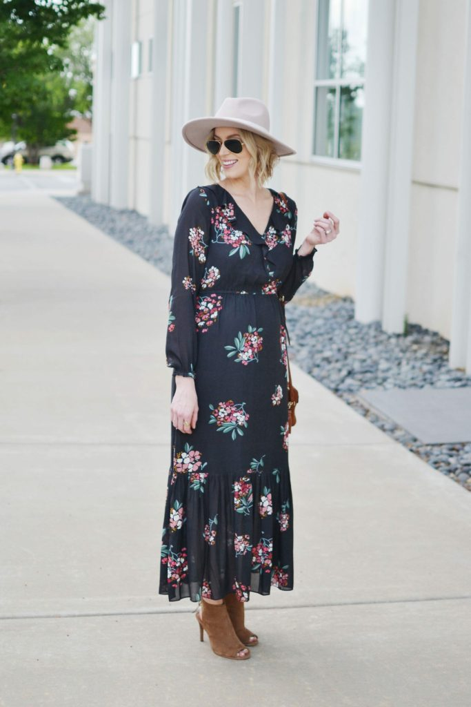 LOFT floral boho midi dress with hat, peep toe booties, and suede Rebecca Minkoff bag