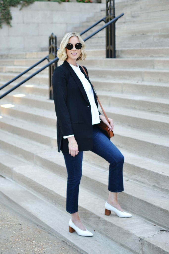 Madewell blazer, crop flares, white oxford, granny heels, Chloe dup bag, style maternity fashion, fall outfit