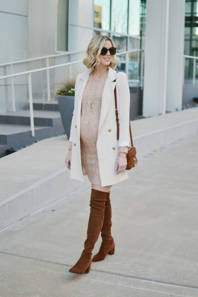 blush sweater dress, longline blazer, over the knee boots, how to style a sweater dress, neutrals, stylish maternity outfit idea, fall outfit