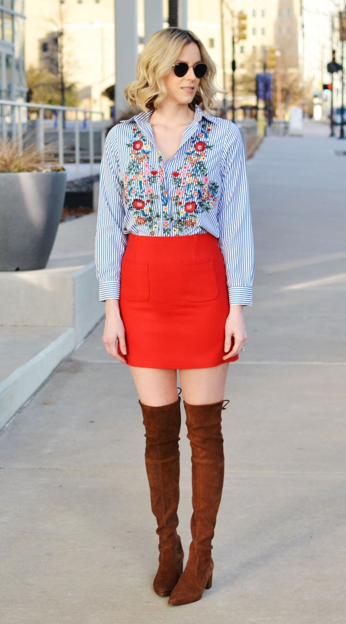 print mixing, embroidered floral oxford top, red skirt, leopard coat, over the knee boots