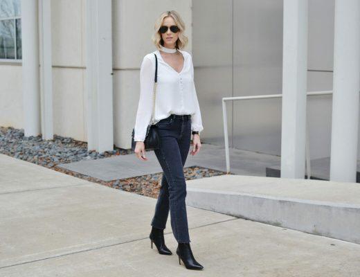 choker top, straight leg jeans Insta
