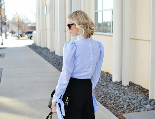 culottes and statement sleeves back detail