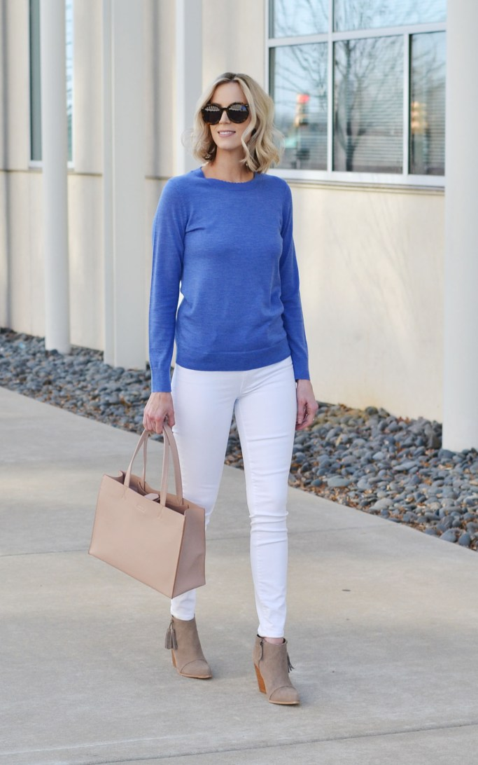how to style a blue top - blue sweater, white jeans, tan suede moto jacket, tan ankle boots, tan tote