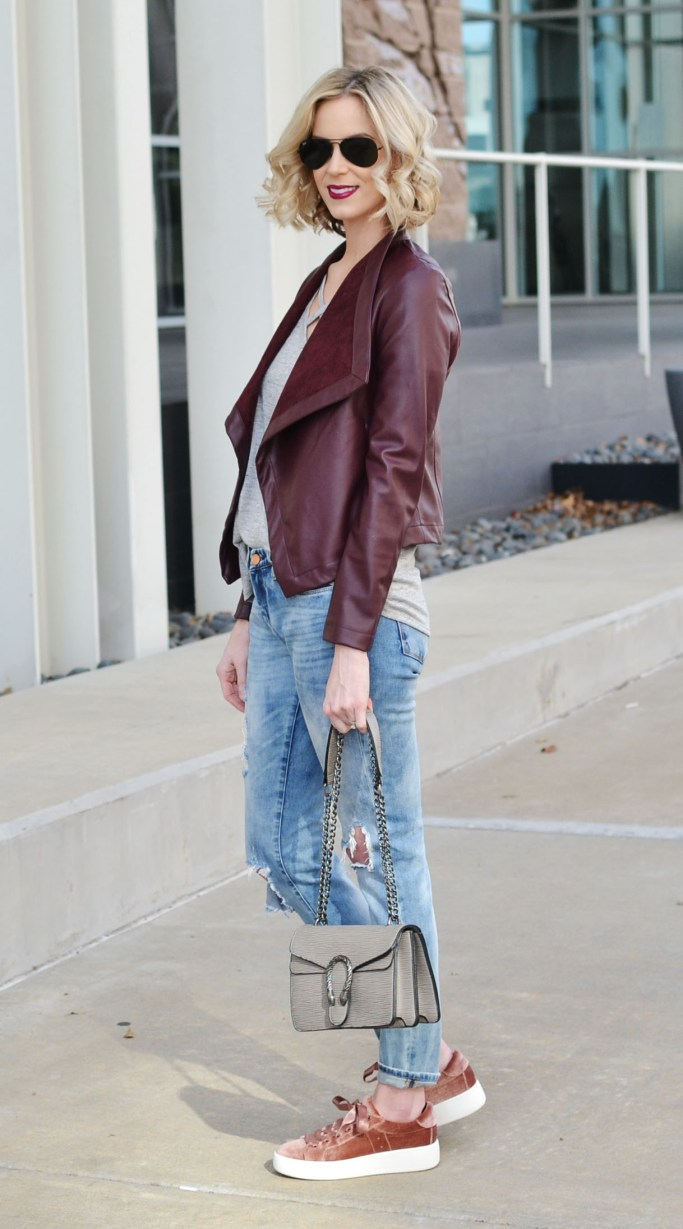 burgundy sliming drape front jacket, boyfriend jeans, tee, velvet sneakers, weekend casual outfit 1