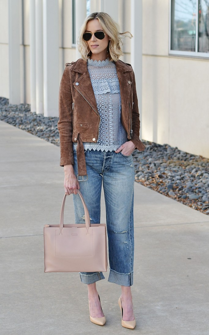finding the right boyfriend jeans - lace top, boyfriend jeans, nude accessories, suede moto jacket
