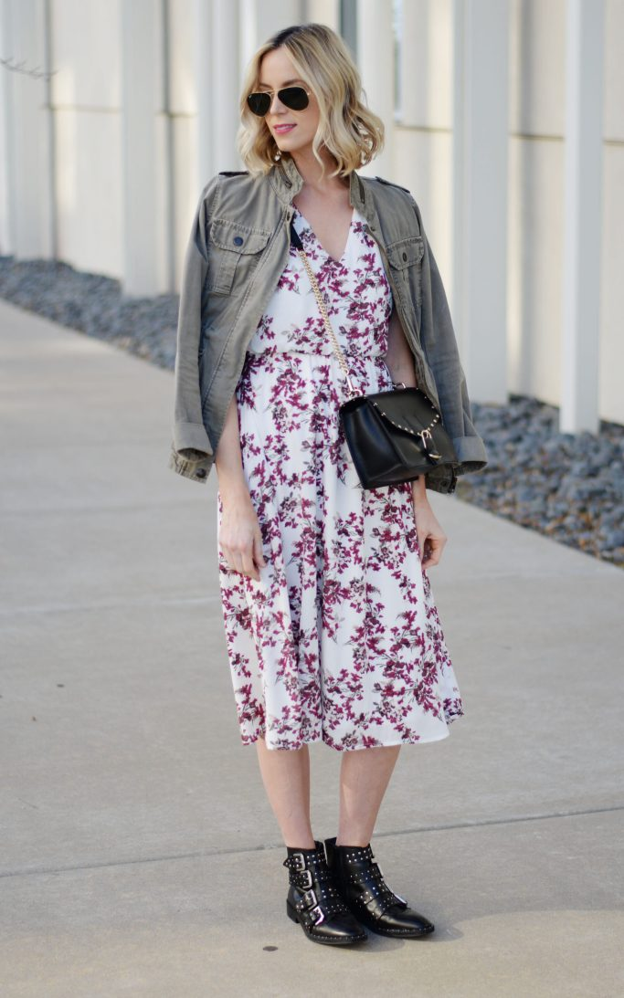 floral midi dress, utility jacket, buckle boots, spring outfit