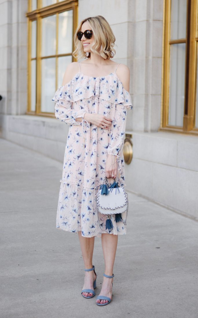 Easter outfit idea, blush off the shoulder floral dress, blue sandals, Rebecca Minoff tassel bag