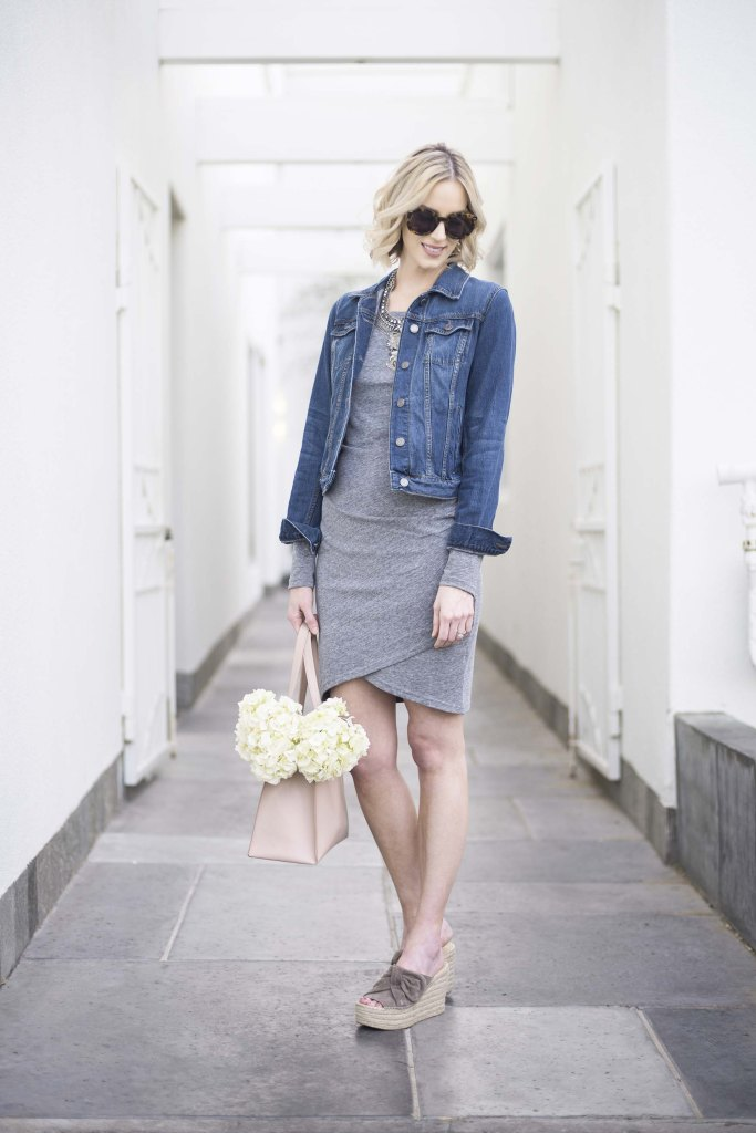 why you need a ruched dress, jean jacket, Marc Fisher wedges, blush tote, spring outfit idea