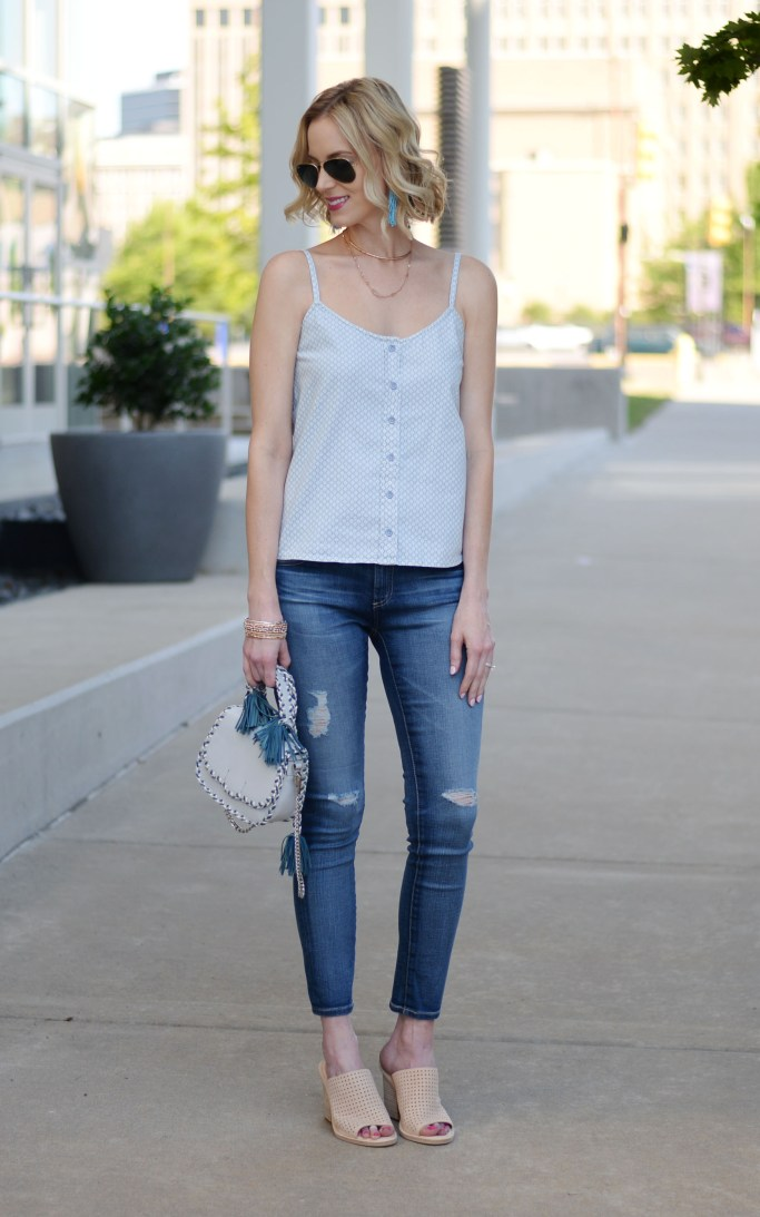 finding the right jeans with AG, AG legging ankle jeans, tank top, casual spring outfit idea, rebecca minkoff tassel bag