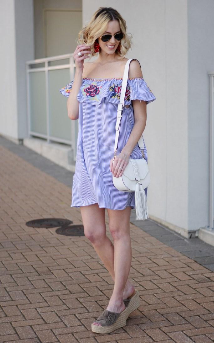 embroidered off the shoulder dress, tassel bag, espadrille wedges