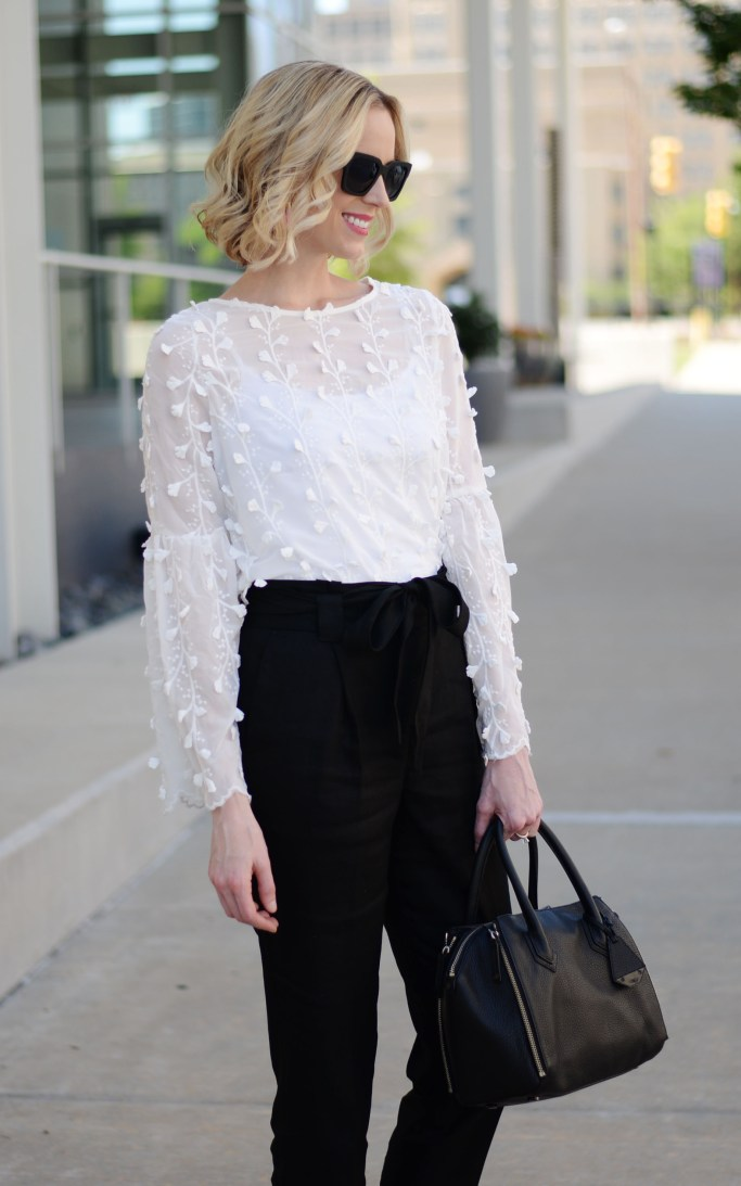 paper bag pants, white floral blouse, work outfit, black and white