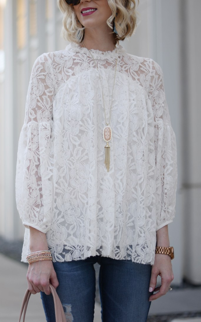 white lace overlay blouse