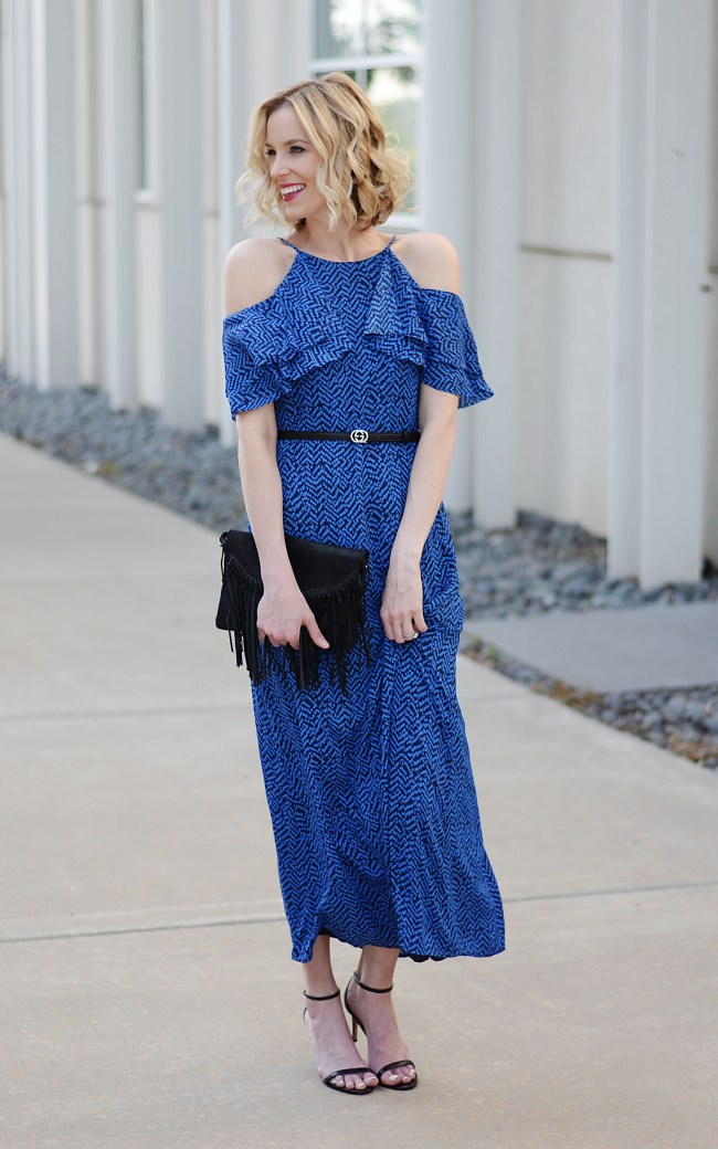cold shoulder ruffle sleeve maxi dress