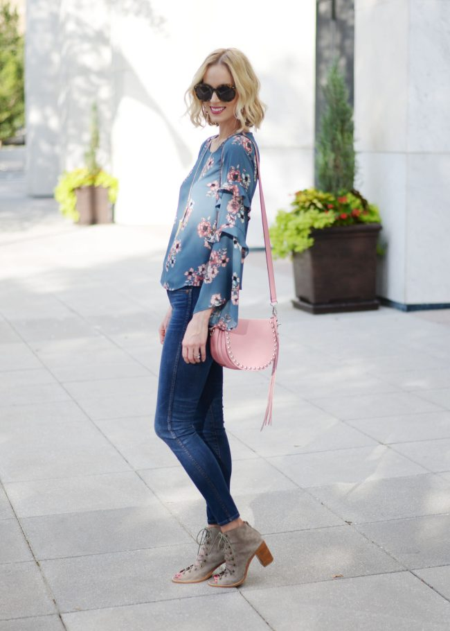 Nordstrom anniversary sale 2017 picks, lush floral top, jeans, Jeffrey Campbell cors booties