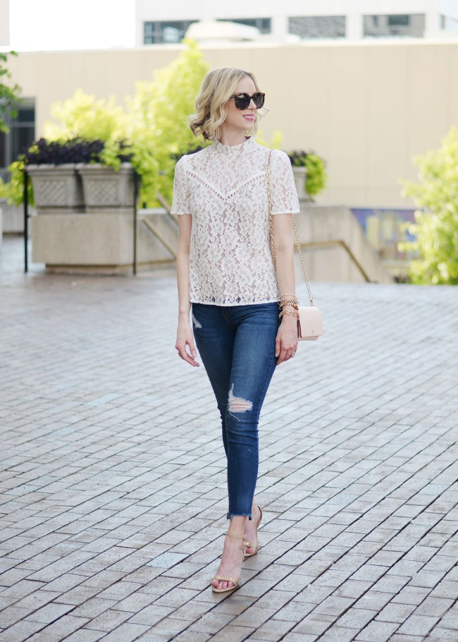 WAYF lace top, distressed jeans, Nordstrom anniversary sale 2017