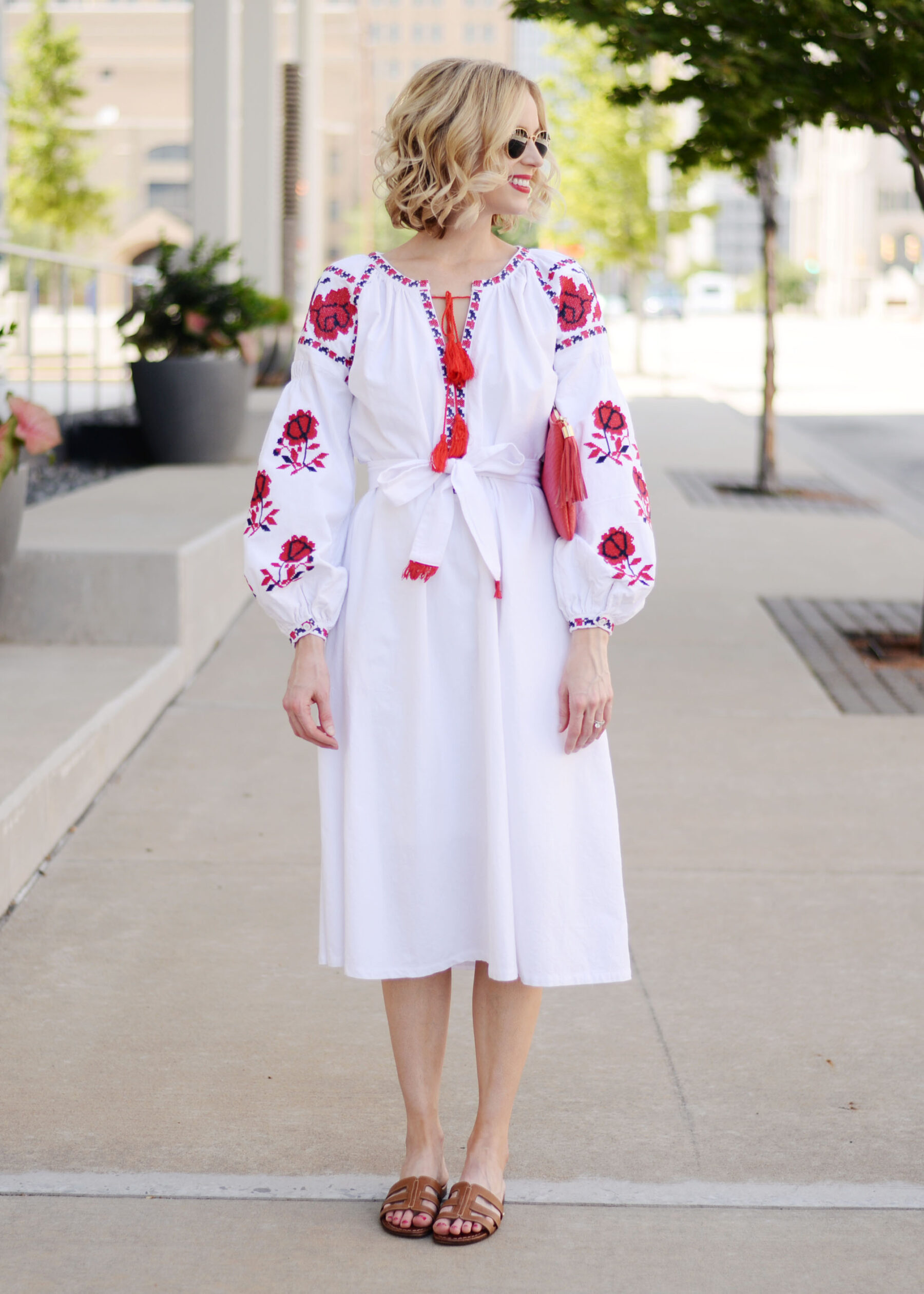 white and red embroidered midi dress with tassel tie closure ...