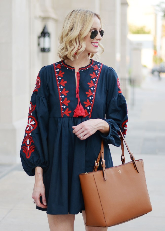 navy mini dress with red embroidery