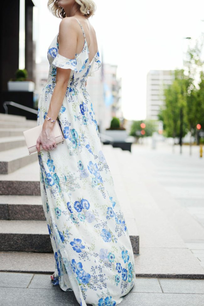 a dress worthy of date night, amanda uprichard wren floral dress, long floral maxi dress, date night outfit idea, blonde lob