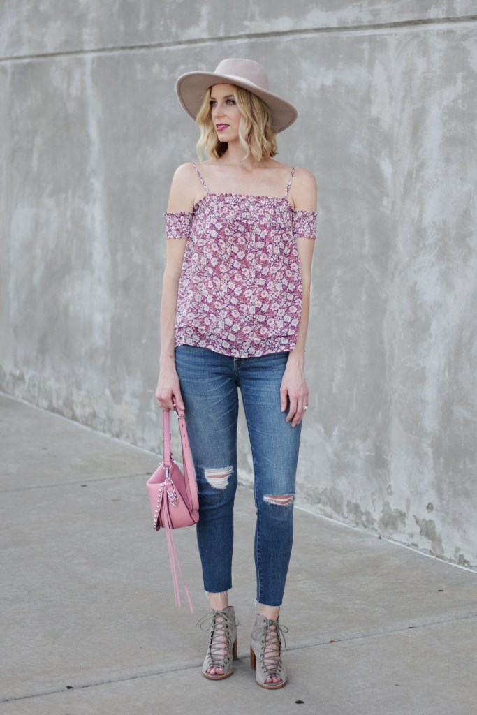rebecca minkoff off the shoulder top, distressed jeans, jeffrey campbell cors booties, hat, weekend casual