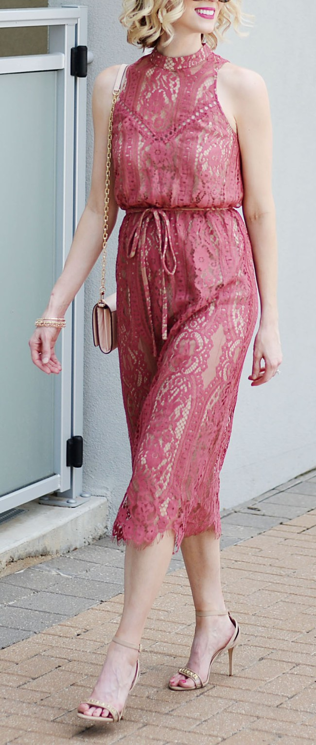 lace midi dress with berry overlay and nude backing
